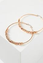 Cotton On - Beaded hoop earrings - rose gold