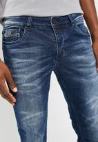 Sergeant Pepper - Feather slim fit jeans with contrast sandblasting - blue