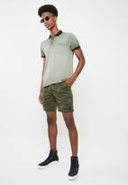 Sergeant Pepper - Printed drawstring elasticated shorts with zip fly - khaki
