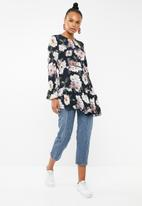 Revenge - Watercolour floral frill top- navy