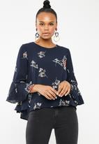 Revenge - 3/4 sleeve floral blouse - navy