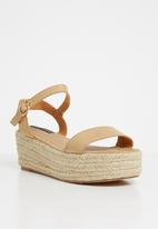 Cherry Collection - Jersey ankle strap straw wedges - beige