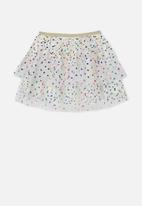 Cotton On - Trixiebelle tulle skirt rainbow spots - white