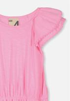 Cotton On - Beau flutter sleeve dress - pink