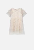Cotton On - Indra tulle dress - peach & silver