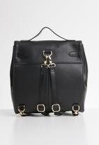 Anni King - Petunia leather short handle handbag - black