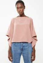 Superbalist - Cold shoulder scarf top - pink