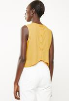 Superbalist - Button back turtleneck blouse - yellow