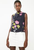 Superbalist - Button back turtleneck blouse - navy floral