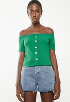 Superbalist - Fitted off the shoulder button through top - green