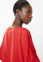 Superbalist - Cold shoulder scarf top - red
