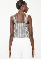 Superbalist - Woven boxy button front cami - black stripe