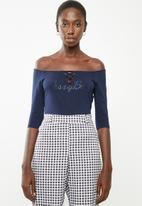 Sissy Boy - Lace up detailed bardot top - navy