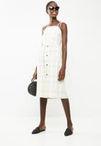 Superbalist - Check sun dress with button front detail - beige