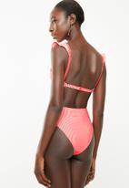 Brave Soul - Frilly striped bikini bottom - coral