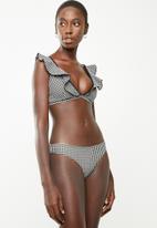 Brave Soul - Frill gingham bikini bottom - black & white