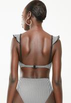 Brave Soul - Frilly striped bikini top - black & white