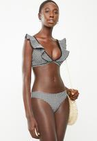 Brave Soul - Frill gingham bikini top - black & white