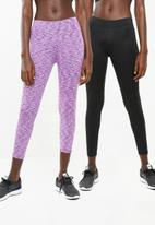 Superbalist - 7/8 leggings 2 packs - black & purple