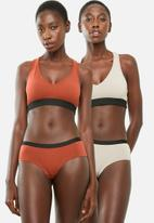 Superbalist - V-neck casual bra 2 pack - brown & orange