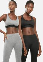 Superbalist - Scoop neck sport bra 2 pack - grey & black