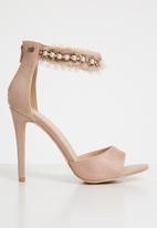 Miss Black - Moore open toe heels - pale pink
