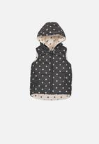 Cotton On - Kids rose reversible puffer - cream & black