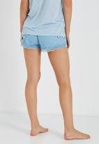 Cotton On - Flannel lace trim shorts - blue