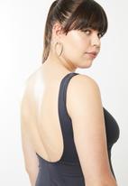 Jacqueline Plus - V-neck swim dress - charcoal