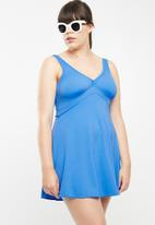 Jacqueline Plus - V-neck swim dress - blue