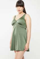 Jacqueline Plus - V-neck swim dress - green