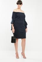 STYLE REPUBLIC PLUS - Bodycon bardot neckline dress - blue