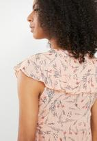 Cotton On - Lana lace up ruffle top - peach