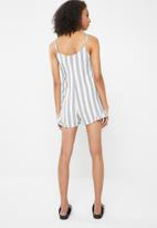 Cotton On - Woven floral lily strappy dress block stripe - white & grey