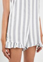 29b11630439 Cotton On - Woven floral lily strappy dress block stripe - white   grey