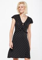 Cotton On - Rhianna short sleeve frill dress - black