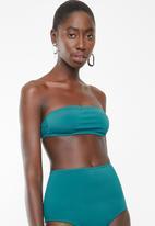 Lithe - Bandeu bikini top with tie back - green