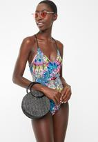 Sun Love - Feather V-neck one piece - multi