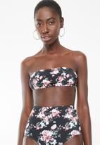 Lithe - Bandeu bikini top with tie back - black