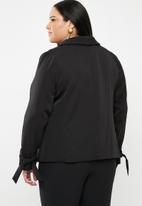 STYLE REPUBLIC PLUS - Tie detail blazer - black