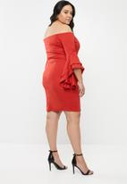 STYLE REPUBLIC PLUS - Bodycon bardot neckline dress - red