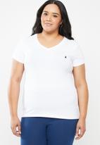 POLO - Kelly V-neck stretch tee - white
