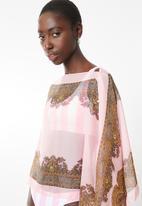 Lithe - Border print kaftan - pale pink
