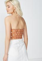 Cotton On - Tania tie front bandeau top - brown