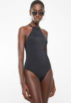 Lithe - High-neck strappy back one piece swimsuit - black