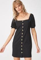 Cotton On - Woven broderie baby doll dress - black