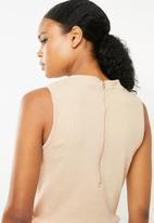 Missguided - Rib flare leg sleeveless jumpsuit - beige