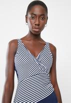 Jacqueline - Nautical wrap one piece - navy & white