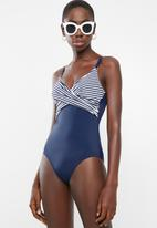 Jacqueline - Nautical crossover one piece - blue & white