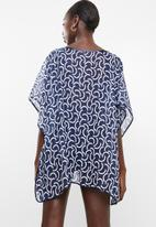 Lithe - Pullover kaftan with piping detail - navy & white